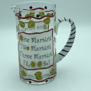 Martini Pitcher Hand Painted Whimsical